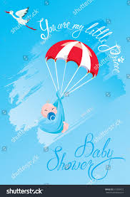 baby shower card invitation etc stork stock vector 612959672