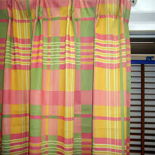 Plaid Curtain Material Plaid Curtains With Polyester Material In Colorful Style