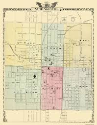 Illinois Railroad Map by Old City Map Springfield Illinois 1876