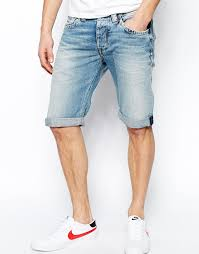 mens light blue shorts pepe jeans pepe denim shorts cash straight fit light wash blue