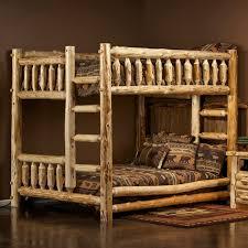 Cedar Lake Queen Over Queen Log Bunk Bed Queen Bunk Beds - Log bunk beds