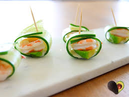 canapes with prawns avocado prawn and cucumber rolls australian avocados
