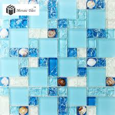 glass conch tiles sea blue glass tile bathroom wall mirror deco