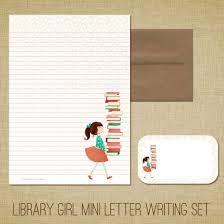 personalized stationery sets mini letter writing set library girl kids stationery set