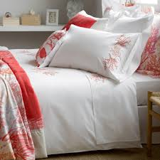 coral embroidered percale cotton bed linen bed linen bedroom