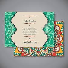 ethnic wedding invitation card template vector free download