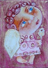aceo folk art painting original naive primitive watercolor