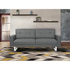 Tufted Faux Leather Sofa by Living Lincoln Mid Century Sofa In Gray Tufted Faux Leather With
