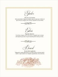 wedding menu templates 27 wedding menu templates free sle exle format