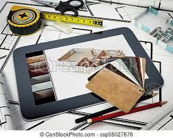 home decorating tools home decorating tools standing on house bluprints 3d stock