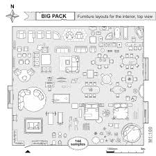 plan furniture layout set top view for interior icon design floor plan stock vector