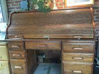 Oak Crest Desk Vintage Locking Oak Crest Roll Top Desk Ebay