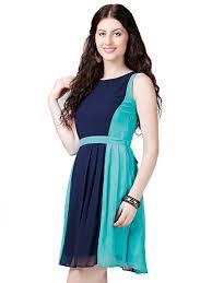 buy navy blue u0026 sea green skater dress u2022 eavan fashion pvt ltd