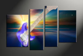4 piece colorful canvas guitar music wall decor