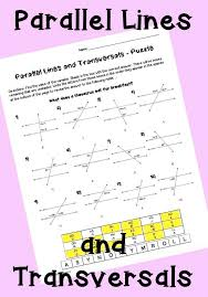 parallel lines and transversals puzzle worksheet exterior