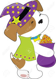 cute halloween clipart a cute puppy is carrying a bag full of halloween candy corn and