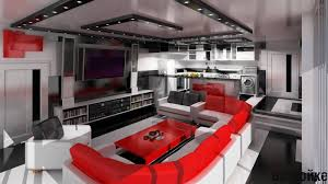 Red Sofa Set An Up Town Living Apartment Design In Black And White Color