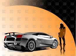 logo lamborghini vector white sports car on automobile show near concept car
