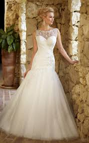 wedding dress illusion neckline jenn bova fit and flair wedding dress with illusion neckline