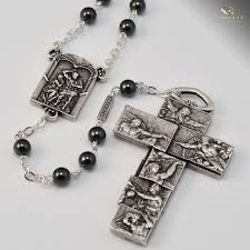 rosary from the vatican vatican museum rosary antique silver plated gray hematite