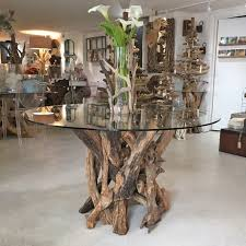tree trunk dining table driftwood table with glass top doris in brixham devon driftwood