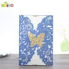 Blank Invitation Cards And Envelopes 2016 Free Shipping 50pcs Blue Laser Cut Wedding Invitation Card