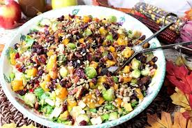 autumn harvest chopped fruit vegetable salad