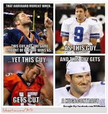 Tebow Meme - romo vs tebow the battle of un clutch the sports hipster