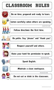 printable instructions classroom classroom rules poster emoji worksheet free esl printable