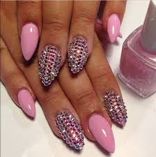Rhinestone Nail Design Ideas Pink Stiletto Nails With Rhinestone Nail Art Modern Quinceaneras