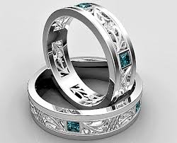 wedding rings set princess cut blue diamond matching wedding ring set vidar