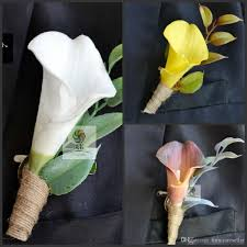 Wedding Boutonnieres 2015 New Wedding Boutonniere Artificial Natural Real Touch Calla