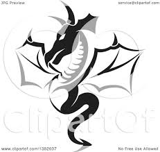 clipart of a black and white dragon tattoo design royalty free