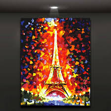 Home Of The Eifell Tower 2017 Flaming Eiffel Tower Abstract Painting Modern Oil Picture