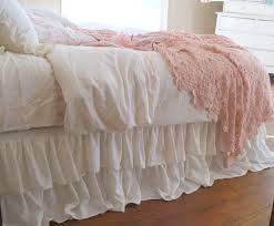 romantic tiered ruffle dust ruffle bed skirt by tickingandtoile
