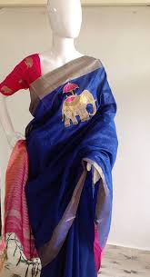 Buy Royal Blue Pure Silk Royal Blue Semi Silk Saree With Elephant Embroidery And