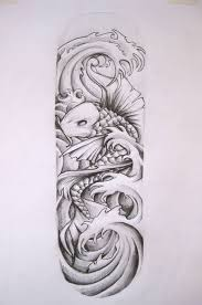koi carp tattoo images japanese style carp fish and waves black and white tattoo