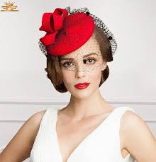wedding hair using nets beautiful flower bridal hats red color party cocktail women