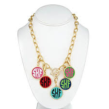 Monogramed Jewelry Monogrammed Enamel Necklace Classic Prep Monograms