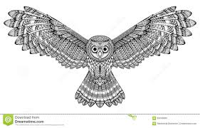 clipart owl black and white vector hand drawn flying owl black and white zentangle art stock