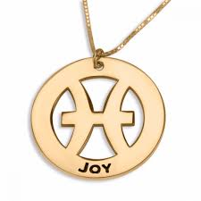 Double Plated Name Necklace Double Thickness Gold Plated Pisces Zodiac Name Necklace Jewish