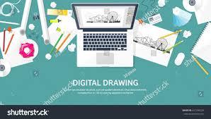 digital drawing website graphic web design illustrationflat styledesigner workplace stock