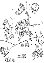 coloring pages for kids spongebob and patrick hunting jellyfish