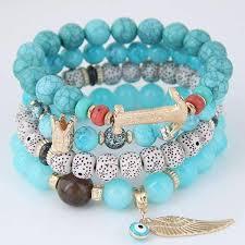 bead bracelet images 4pcs set multilayer beach boho natural stone bead bracelet jpg