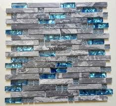 decorative wall tiles kitchen backsplash 11pcs gray marble mosaic blue glass tile kitchen backsplash