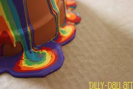 dilly dali art rainbow pour painted pots