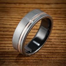 black zirconium wedding bands black zirconium bi color brushed offset gold ring spexton