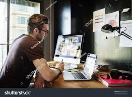Home Office Concept Man Busy Photographer Editing Home Office Stock Photo 502687822