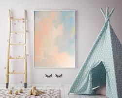 Light Peach Bedroom by Z Abstract Nursery Pastel Peach Blue Canvas Nursery Art Pastel