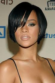 pic of black women side swept bangs and bun hairstyle best black women medium inverted bob haircut with bangs ideas